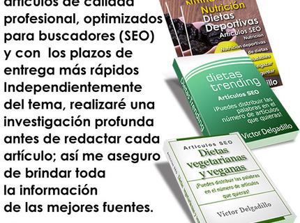 Artículos SEO sobre nutrición y dietas deportivas.