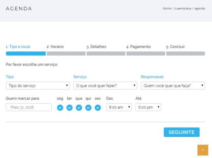 Site personalizado + Agenda de serviço web