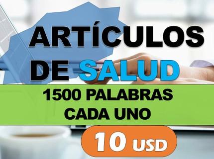 Artículos de 1500 palabras de Salud por 10 USD